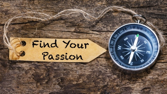 Find your passion  motivation phrase handwriting on label with